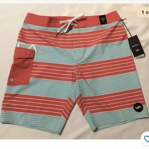 NWT RVCA Uncivil Stripe Trunk Board Shorts size 36